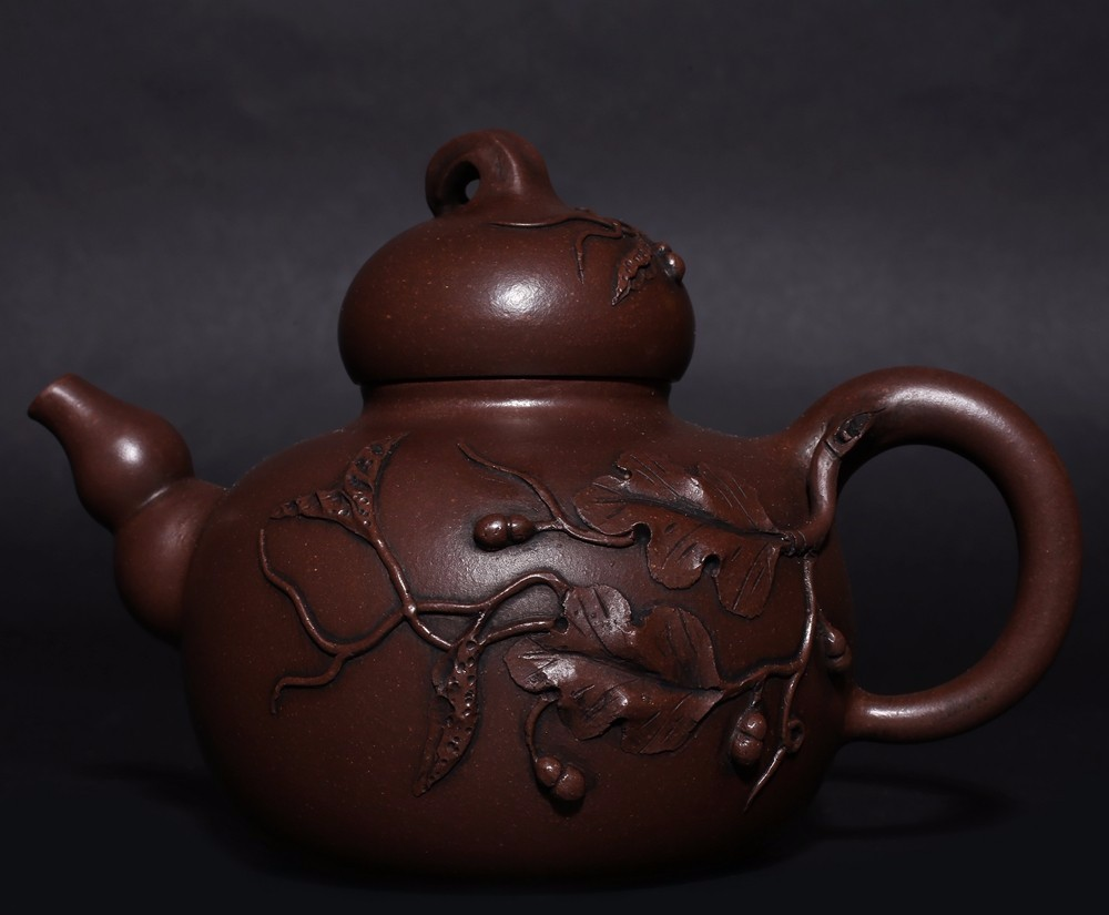 Old Chinese Zisha Teapot Handmade Gourd Shape Teapot Marked WangYinXian HK008