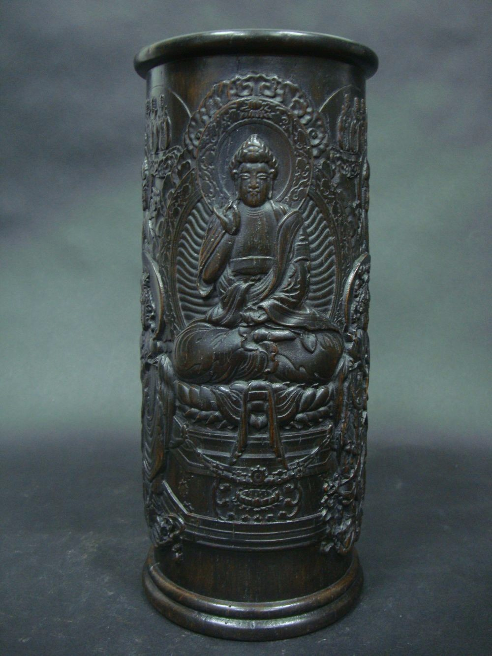 Amazing Large Old Chinese Hand Carved Buddhas Rosewood Hatstand QA785