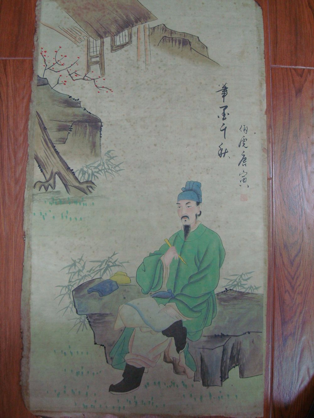 Large Old Chinese Paper Painting Figure Scholar Marked TangYin QA825