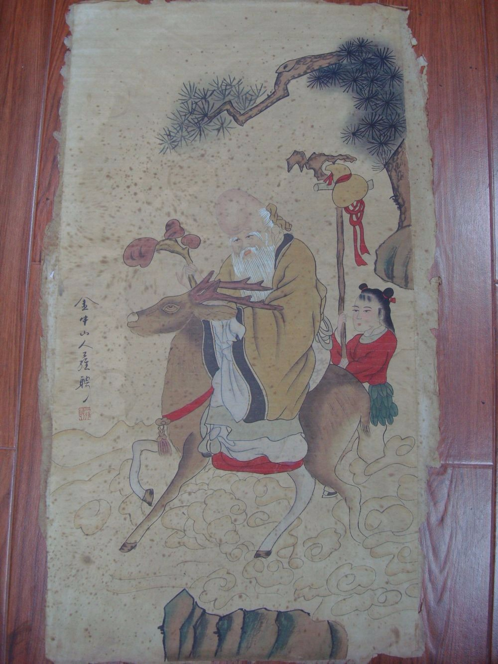 Large Old Chinese Paper Painting The Longevous Man Marked LuoPin QA834