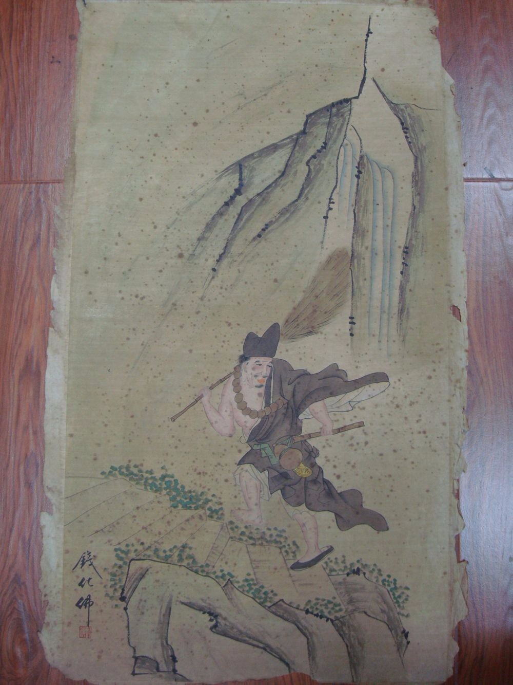 Large Old Chinese Paper Painting Monk Marked QianHuaFo QA836