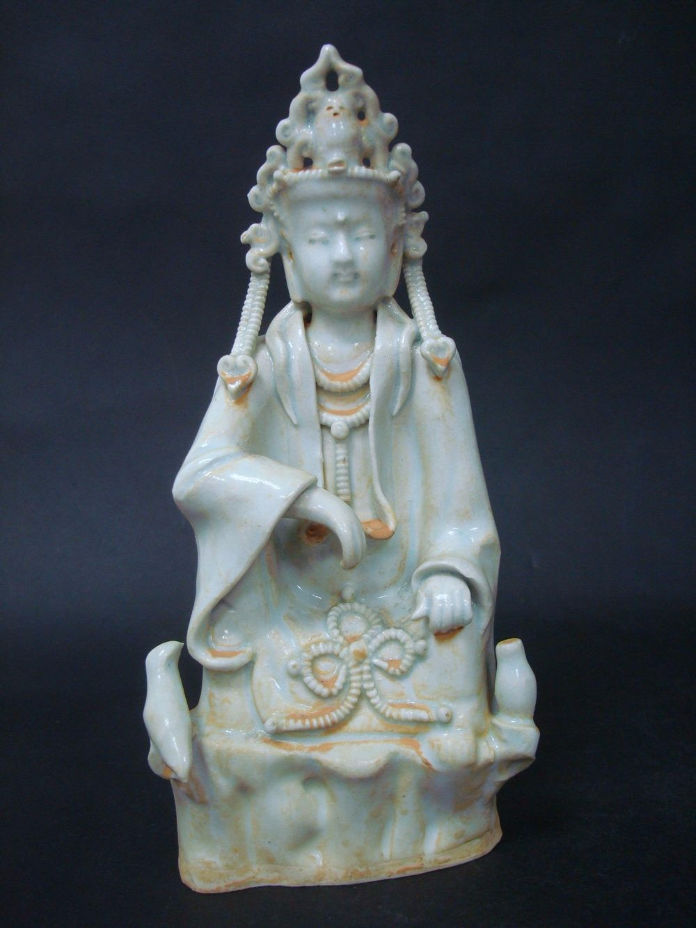 Unusual Old Chinese Celadon Porcelain GuanYin Buddha Statue Sculpture QB026