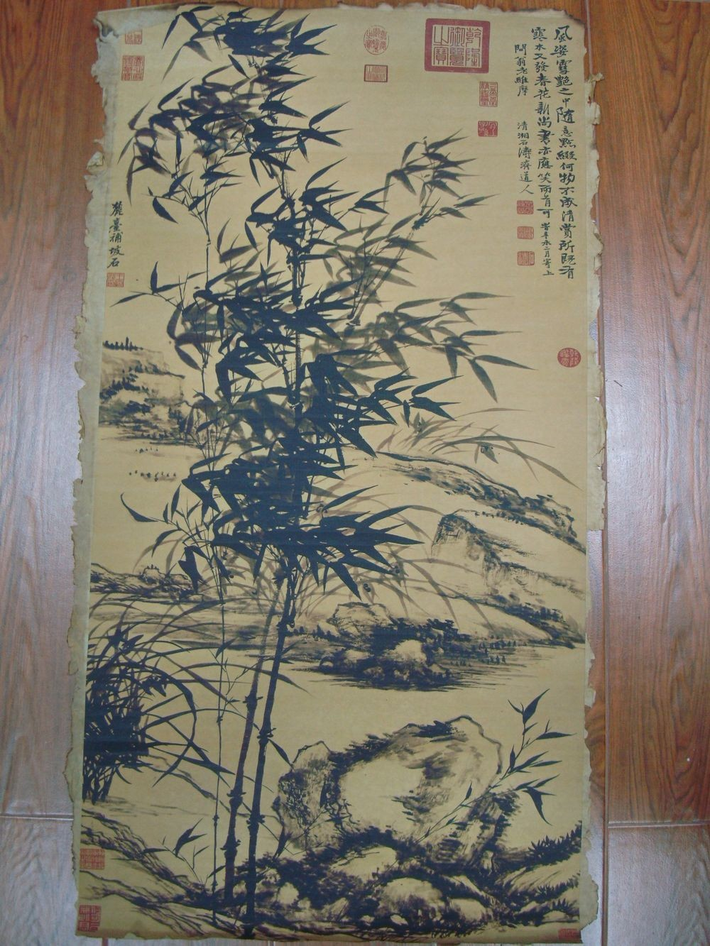 Very Long Old Chinese Scroll Hand Painting Bamboo Mark ShiTao QB634