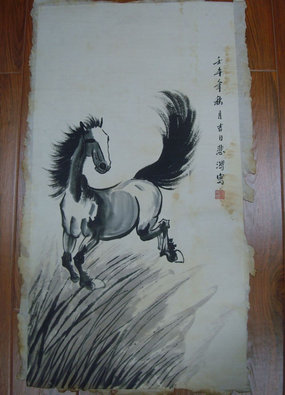 Rare Old Large Chinese Hand Painting Vivid Horse Image