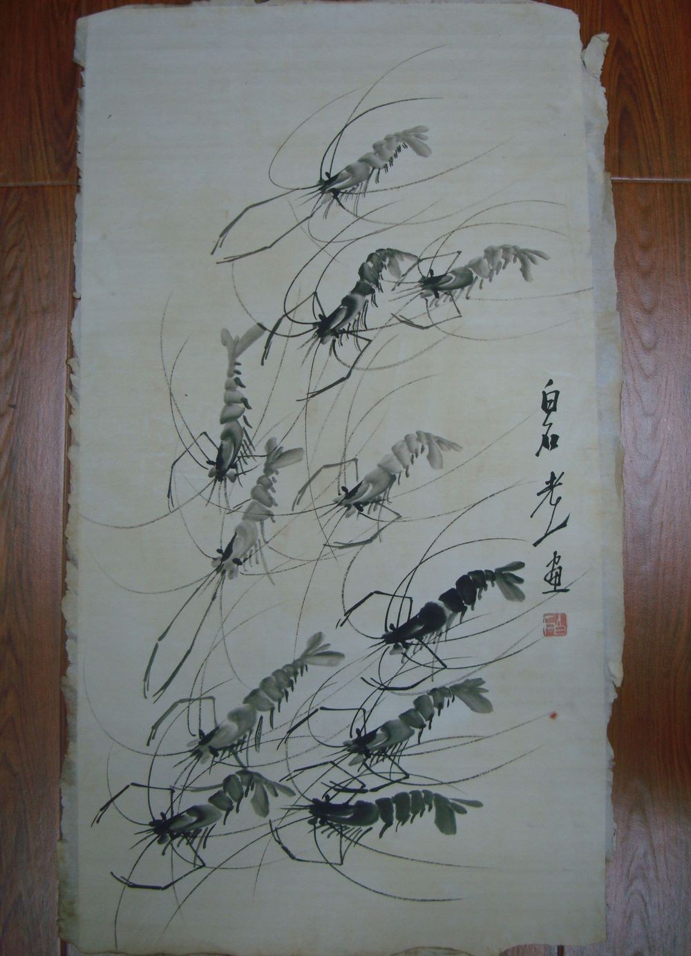 Very Long Old Chinese Scroll Hand Painting Shrimps