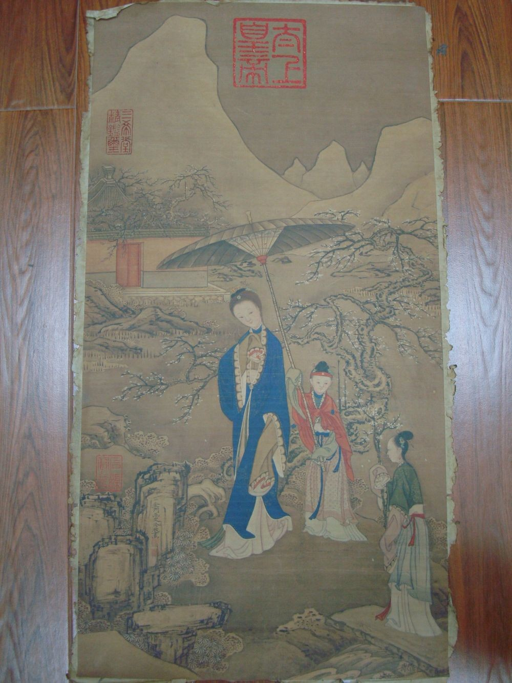 Very Long Old Chinese Scroll Hand Painting Explore plum Mark QB637