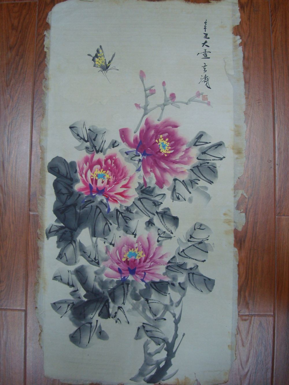 Large Old Chinese Hand Painting Beautiful Flowers