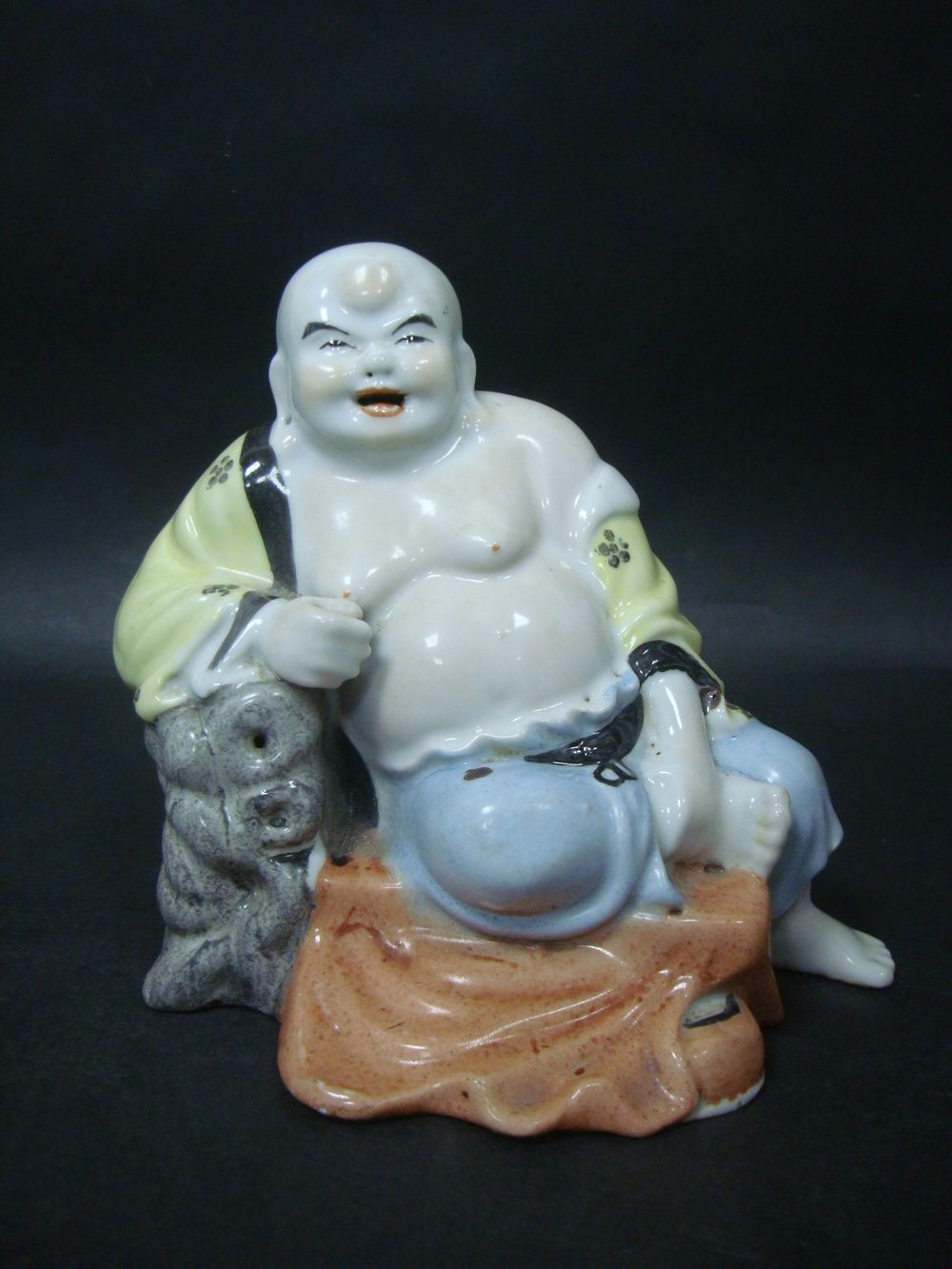 Fine Old Chinese Colourful Porcelain Maitreya Buddha Laughing Statue QB694