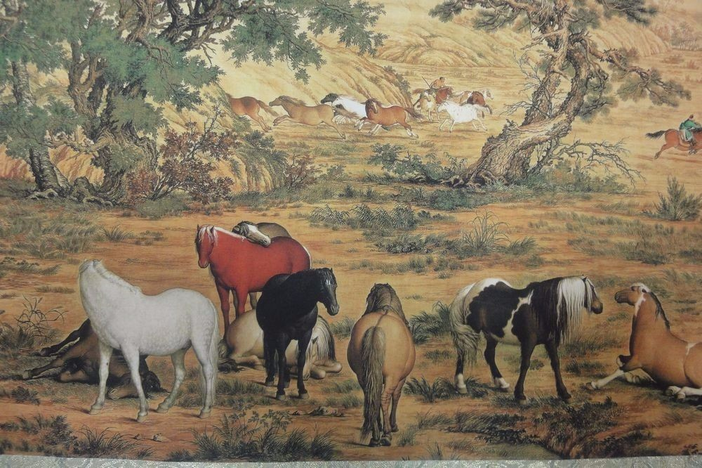 Rare Long Chinese Scroll Painting Horses