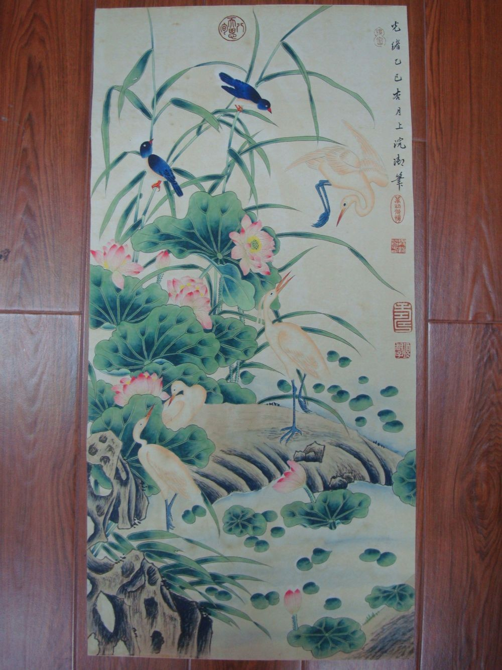 Very Large Old Chinese Hand Painting Lotus Flowers Birds with Red Marks QB796