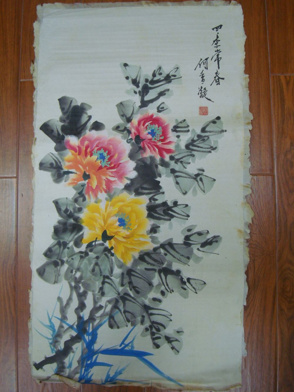 Very Large Old Chinese Hand Painting Flowers