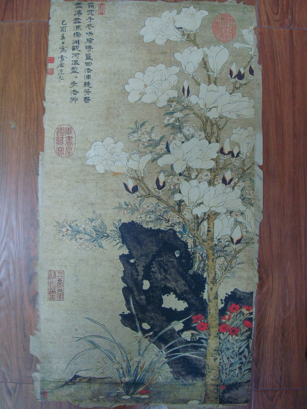 Rare Large Old Chinese Hand Painting Flowers Marks QB799
