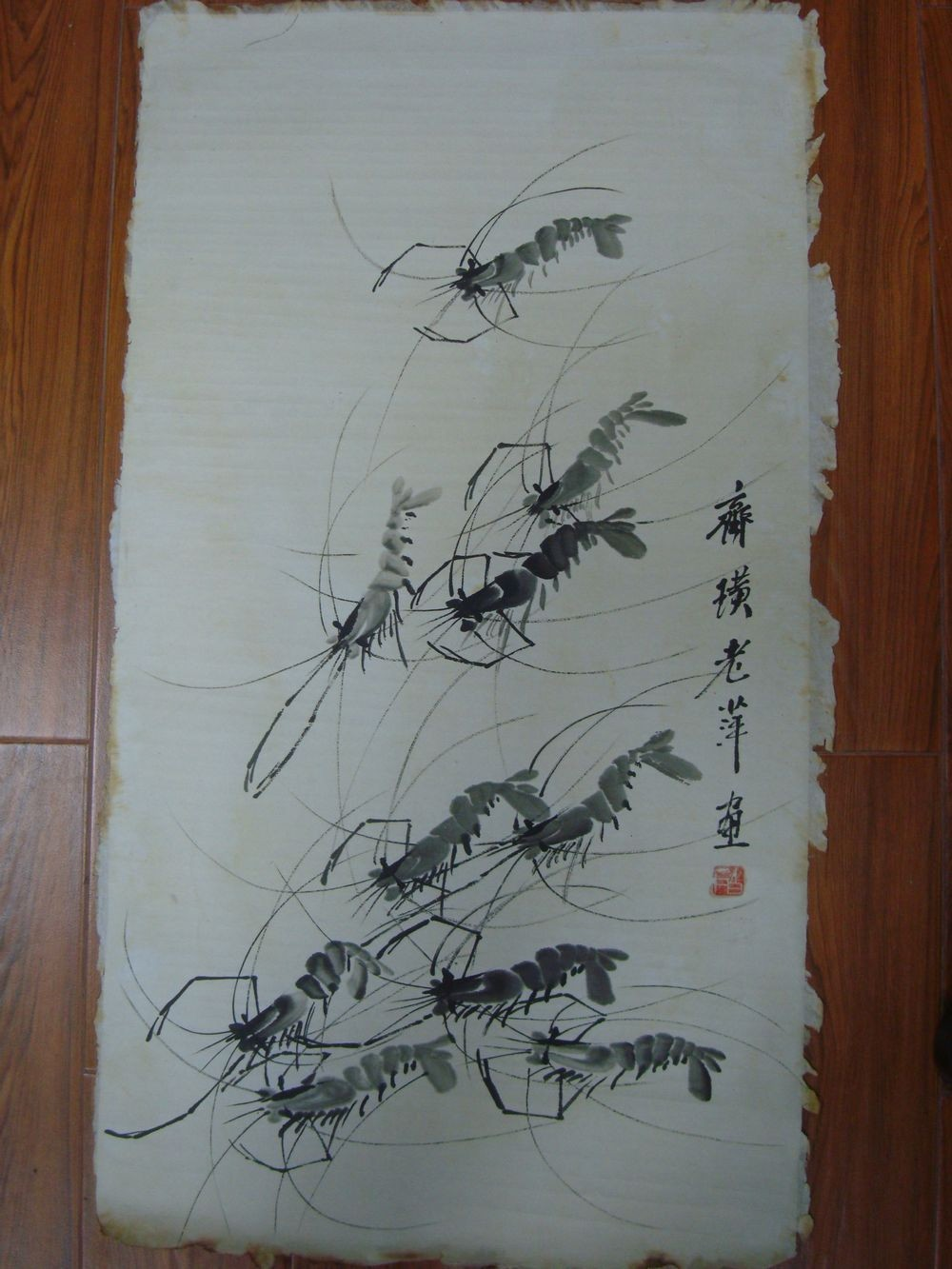 Rare Large Old Chinese Paper Hand Painting Vivid Shrimps